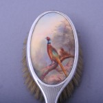 Silver mounted enamelled hair brush by James Stinton