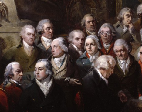 George Dance depicted centre left, head turned to his right. Photo: RA © Royal Academy of Arts, London