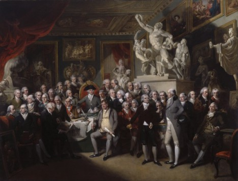 The Royal Academicians in General Assembly, 1795 by Henry Singleton.