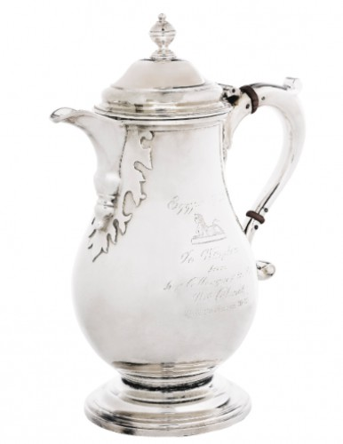 The War Cabinet silver jug: presented to Churchill by his Cabinet in November 1942. Sotheby's.