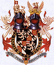 Sir WInston Churchill's coat of arms as a Knight of the Garter, showing the combined Spencer-Churchill arms and both crests.