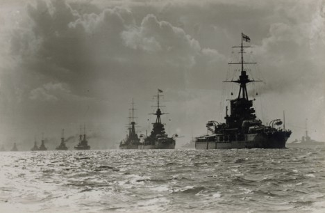 Admiral Jellicoe's flagship HMS Iron Duke leading the fleet before the battle of Jutland