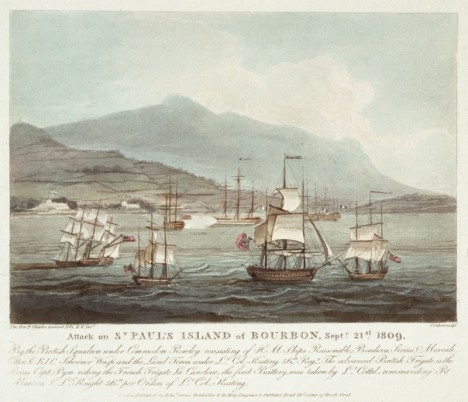 "Attack on St. Paul's Island of Burbon Sept. 21 1809 By the British Squadron under Commodore Rowley consisting of HM Ships Raisonable, Boadicea, Sirius, Mereide, Otter & E.I.C. Schooner Wasp and the Land Forces under Lt. Col. Keating 56th Regt. The advanced British Frigate is the Sirius, Capt Pym raking the French Frigate La Caroline. The first Battery, was taken by Lt Cottel, commanding R Marines & Lt Knight 56th per Orders of Lt Col Keating. This print shows one of the main events of ""The Mauritius Command"" (thedearsurprise.com)"