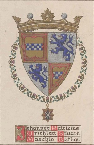 The Marquis of Bute's armorial bookplate showing the Crichton-Stuart arms