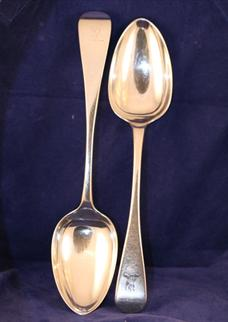 A pair of Victorian serving spoons