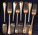 A set of eight modern Scottish Old English pattern sterling silver dessert forks