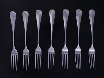 Seven modern Hanoverian pattern sterling silver table forks