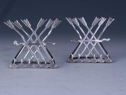 A pair of Edwardian sterling silver armorial card holders