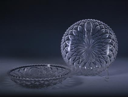 Pair Victorian armorial glass dishes