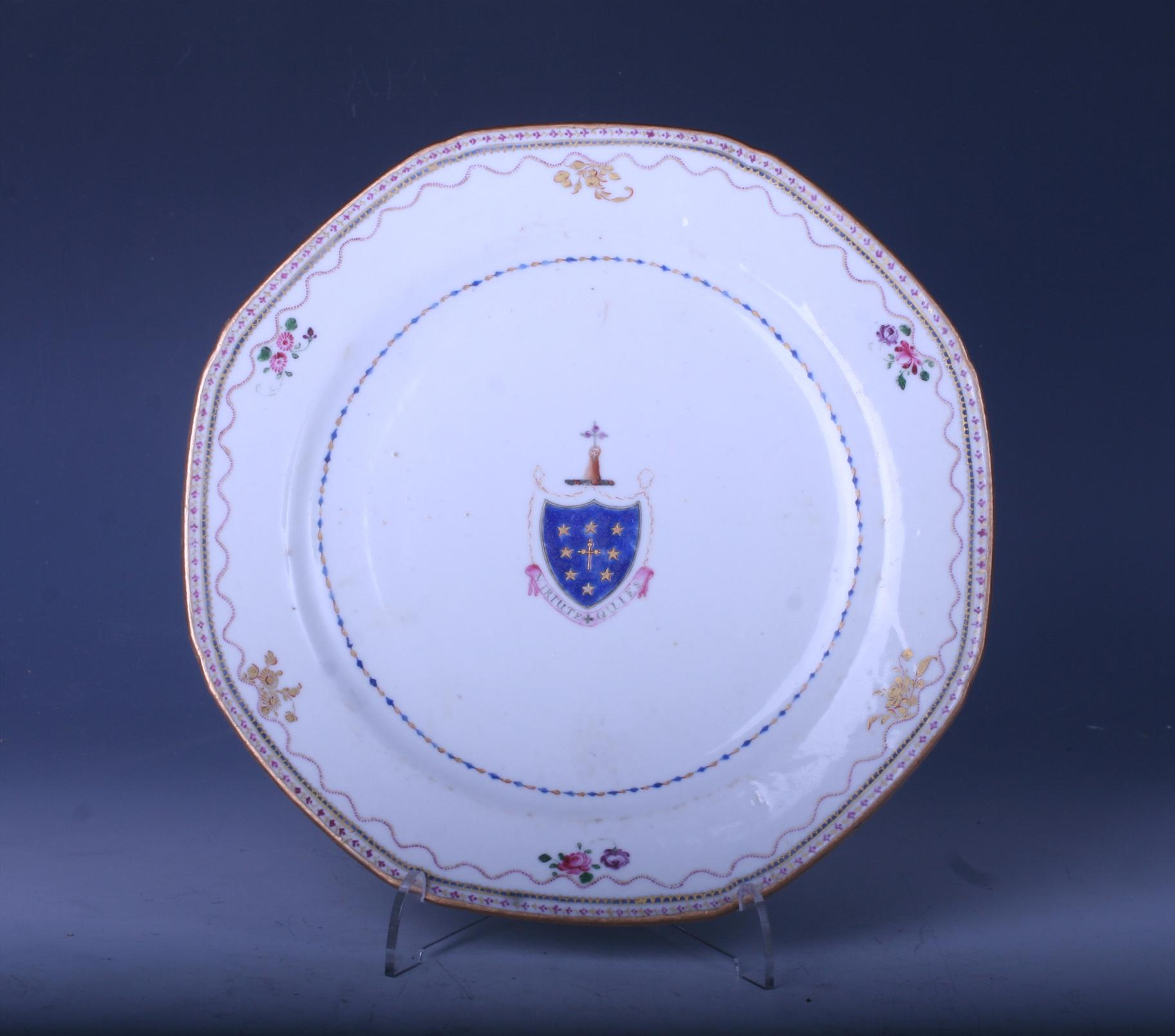 A Chinese Armorial Porcelain Plate Myfamilysilver Com