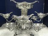 Antique Victorian Epergne. English Sterling Silver. 9 Baskets