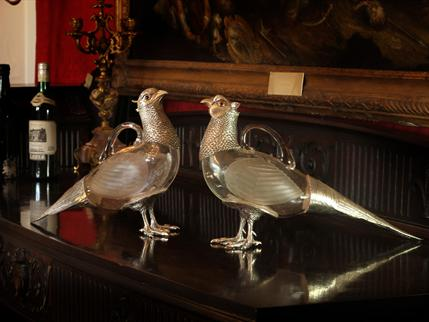 Pair of lifesize sterling silver and glass Pheasant claret jugs