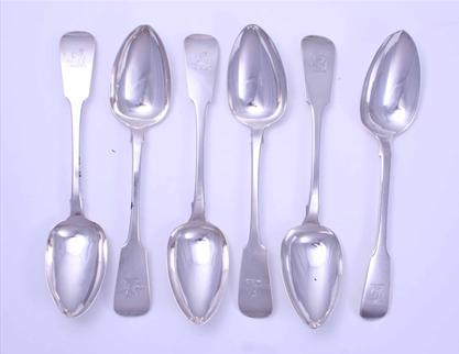 Six George IV Irish fiddle pattern sterling silver tablespoons