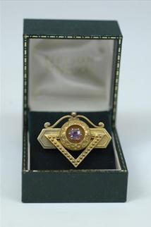 Antique American 14k Gold And Amethyst Pin