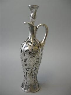 Antique Silver Overlay Wine Decanter American