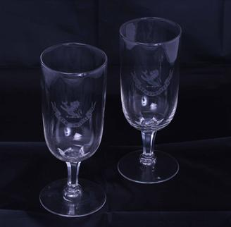 Fine pair of armorial glass goblets