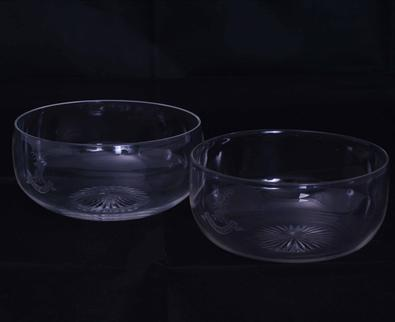 Pair armorial glass finger bowls