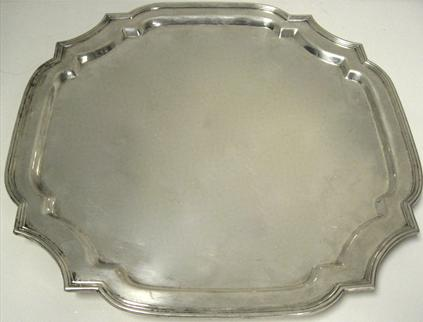 Square, Sterling Silver Footed Salver / Tray, 15 1/4