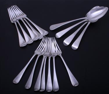 A matched collection of George III / IV Old English pattern silver flatware