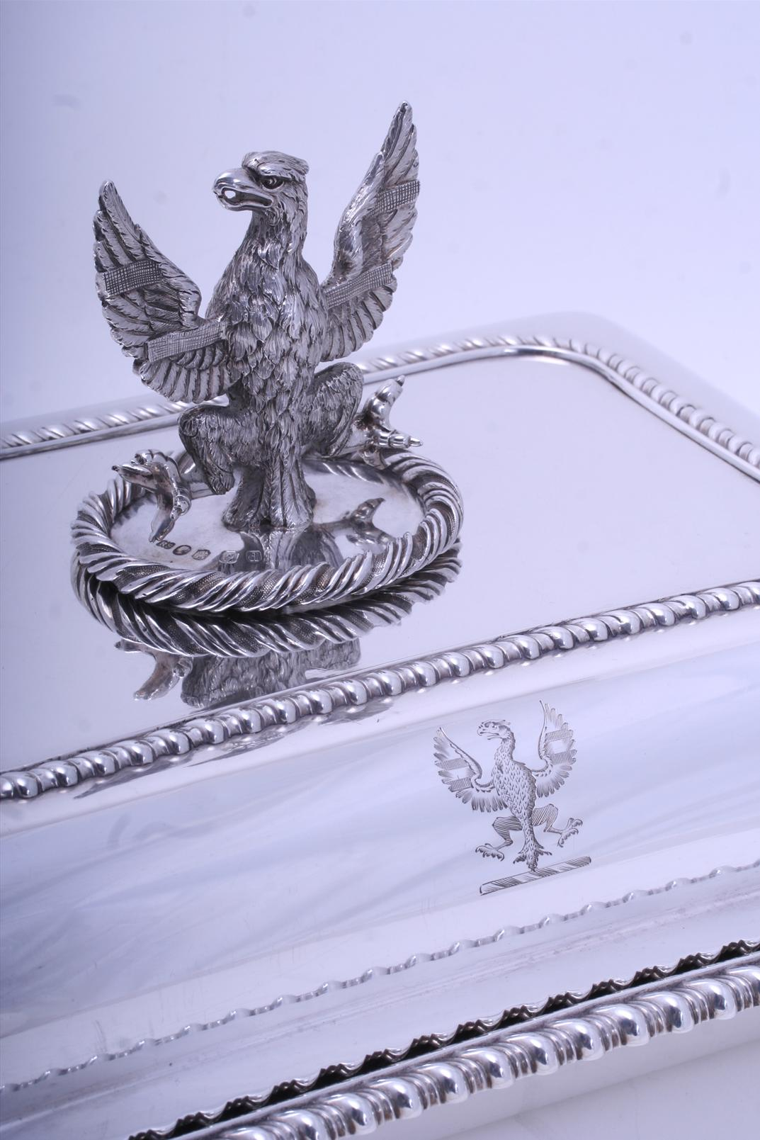 Pair Regency Sterling Silver Entree Dishes With Armorial