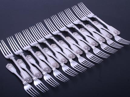 Collection of Victorian fiddle, thread and husk pattern sterling silver forks