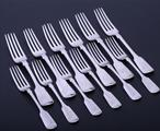 Collection of Victorian sterling silver fiddle pattern flatware