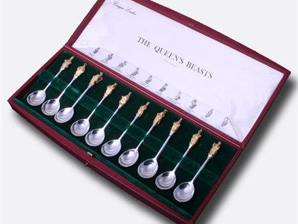THE QUEEN'S BEASTS: rare set of ten sterling silver commemorative Heraldic apostle spoons
