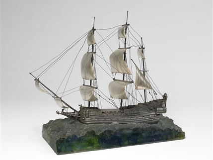 Magnificent continental silver ship centrepiece