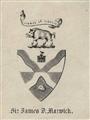 A late 19th century framed armorial bookplate