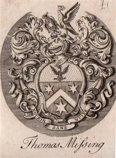 An 18th framed armorial bookplate