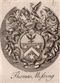 An 18th framed armorial bookplate
