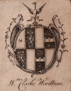 A framed 18th century armorial bookplate
