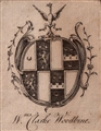 A framed 18th century armorial bookplate
