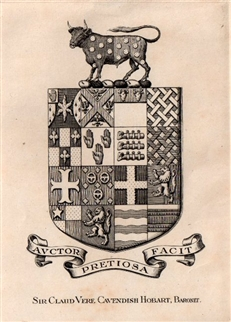 An early 20th century framed crest bookplate