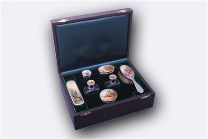 JAMES STINTON: Fine sterling silver and enamel dressing table set