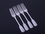 Set of four Victorian fiddle pattern sterling silver forks