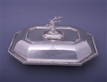 A good Victorian sterling silver entree dish and cover with armorial finial