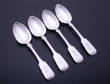 Set of four Victorian fiddle pattern sterling silver dessert spoons