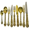 ASPREY, Sterling Silver Gilt, Chased & Pierced Vine Flatware Set