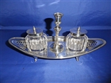 Antique English Sterling Silver Inkwell Ink Stand with Taper Stick