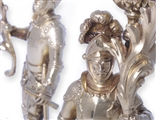 Exceptional and rare pair of Victorian heraldic silver gilt candlesticks