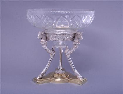 Fine Victorian silver and glass figural centrepiece