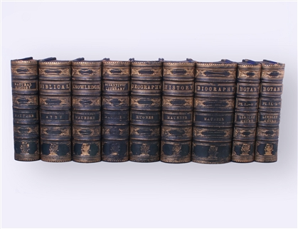 Armorial Bindings: Set of nine Victorian reference works and dictionaries