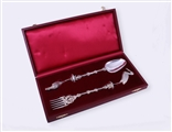 THE HAGUE: Fine and impressive armorial silver fork and spoon
