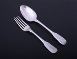 A George III fiddle pattern sterling silver table fork and spoon