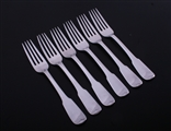 A set of six Scottish George IV fiddle pattern sterling silver table forks