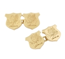 A fine pair of 18ct gold shield shaped crested cufflinks