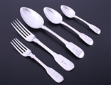 A fine and extensive matched service of George III fiddle and thread pattern silver flatware for 18 people