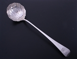 A fine George III sterling silver scallop shell ladle