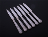 PAUL STORR: A set of six Hourglass pattern sterling silver dessert knives